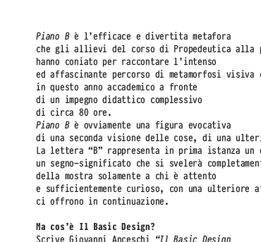 Piano B   Basic Design